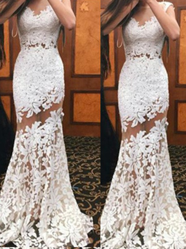 Trumpet/Mermaid Scoop Lace Sleeveless Sweep/Brush Train Prom Dresses