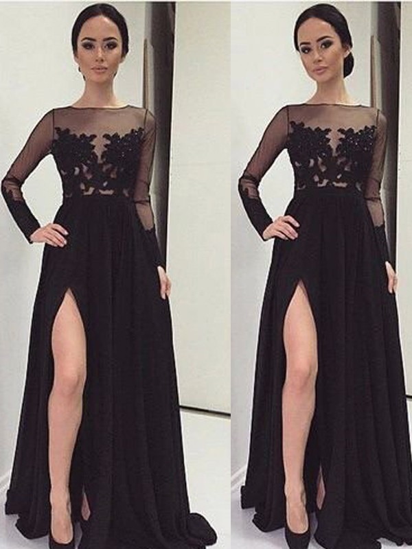 A-Line/Princess Bateau Chiffon Long Sleeves Floor-Length Prom Dresses
