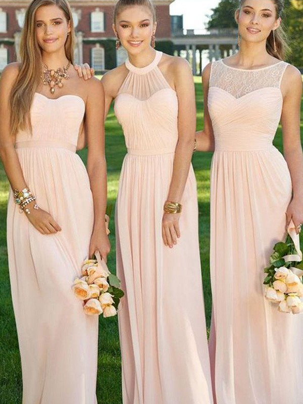 A-Line/Princess Chiffon Sleeveless Floor-Length Bridesmaid Dresses