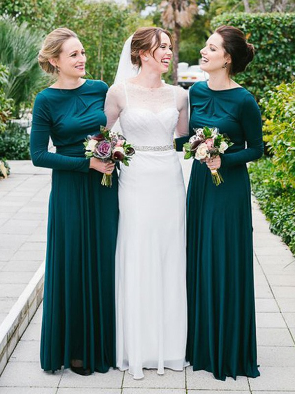 A-Line/Princess Sweetheart Jersey Long Sleeves Floor-Length Bridesmaid Dresses