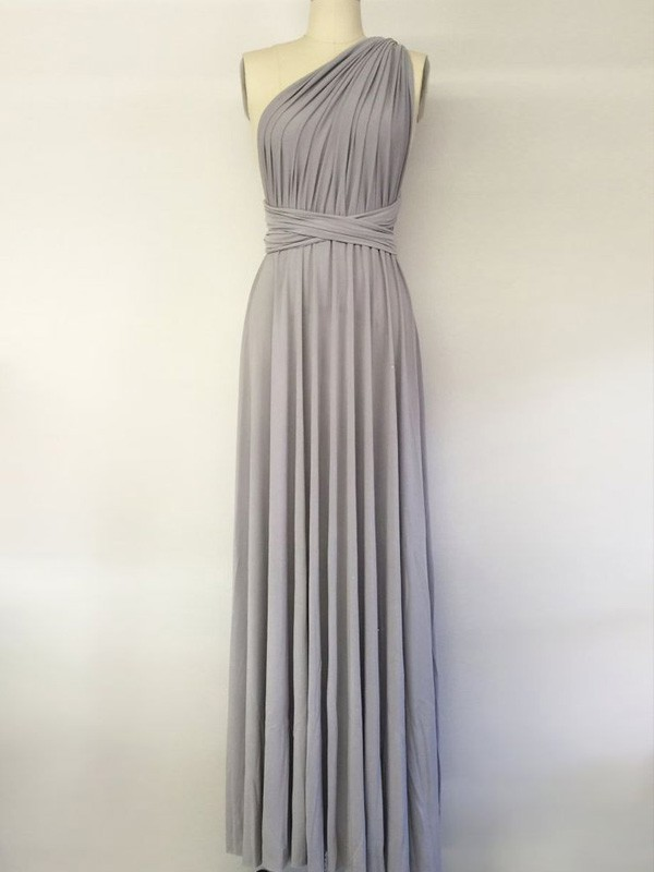 A-Line/Princess One-Shoulder Spandex Sleeveless Floor-Length Bridesmaid Dresses