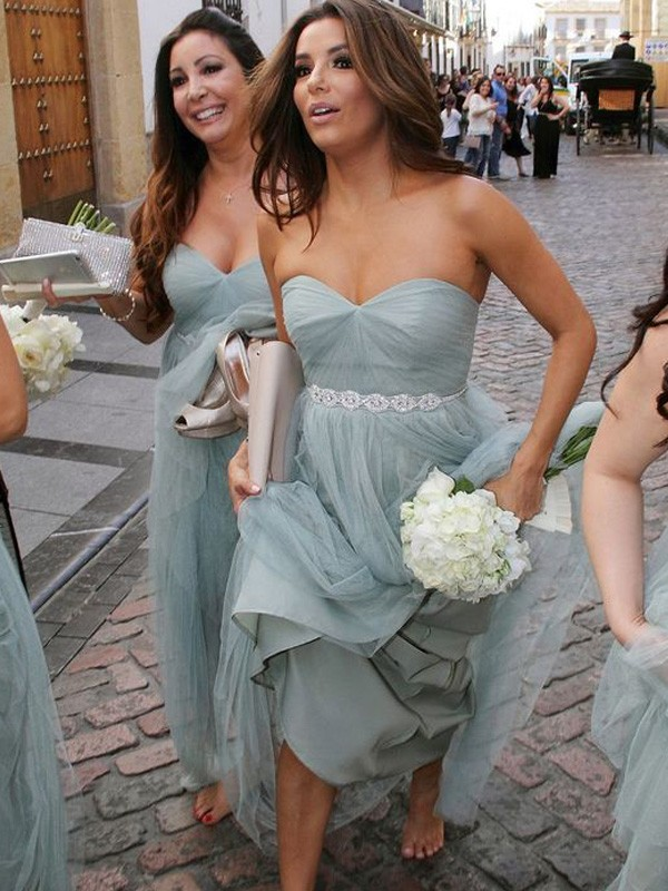 A-Line/Princess Sweetheart Tulle Sleeveless Floor-Length Bridesmaid Dresses