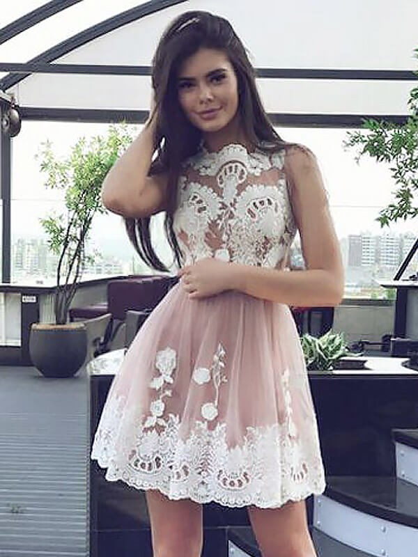 A-line/Princess Scoop Chiffon Sleeveless Short/Mini Dresses