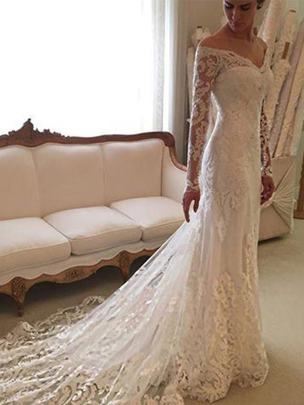 Sheath/Column Off-the-Shoulder Lace Long Sleeves Court Train Wedding Dresses