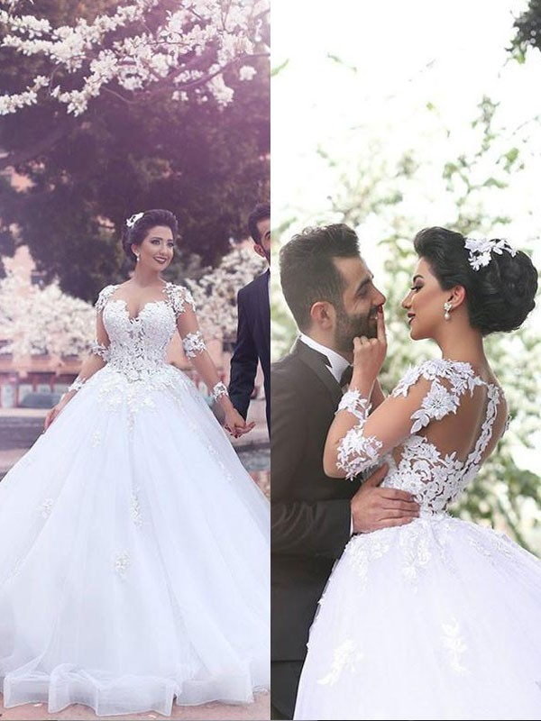 Ball Gown Sweetheart Tulle Long Sleeves Court Train Wedding Dresses