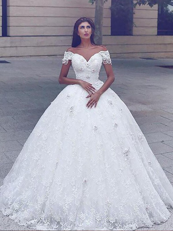 Ball Gown Straps Lace Sleeveless Floor-Length Wedding Dresses
