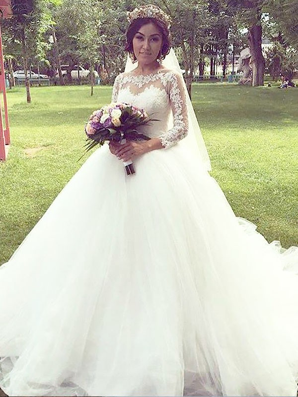 Ball Gown Bateau Tulle Long Sleeves Court Train Wedding Dresses