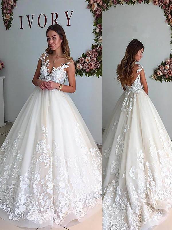 A-Line/Princess V-neck Tulle Sleeveless Court Train Wedding Dresses