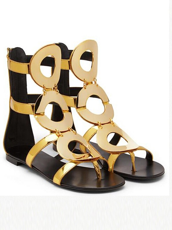 Women's Flat Heel Patent Leather Peep Toe With Zipper Sandals Shoes