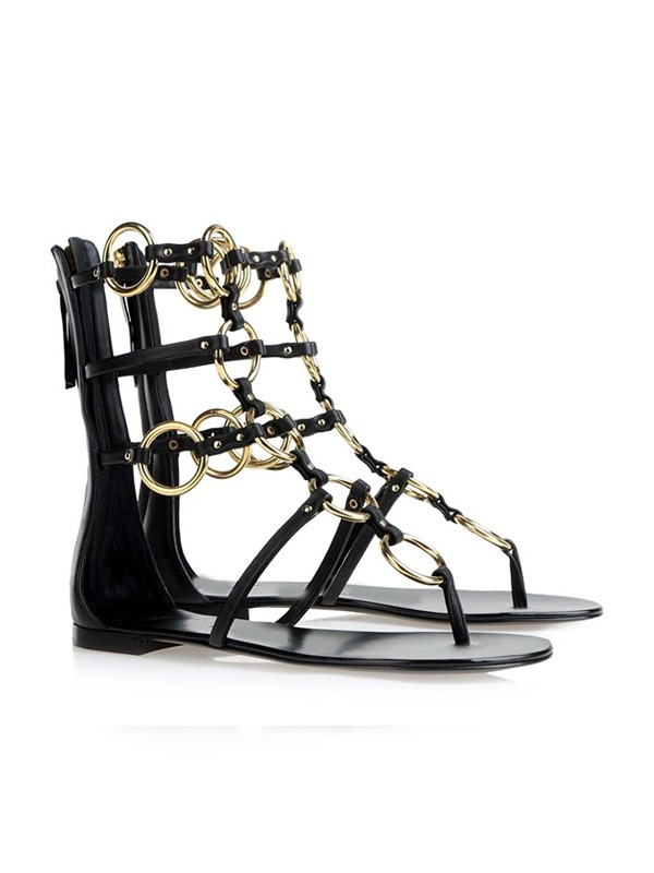 Women's Peep Toe Patent Leather Flat Heel With Chain Sandals Shoes