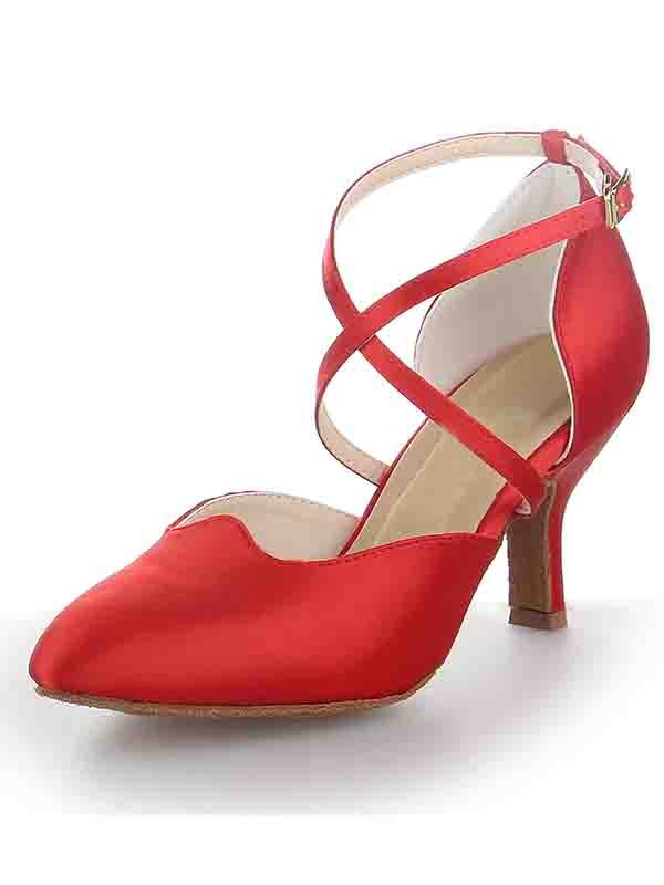 Women's Satin Stiletto Heel Close Toe Buckle Dance Shoes