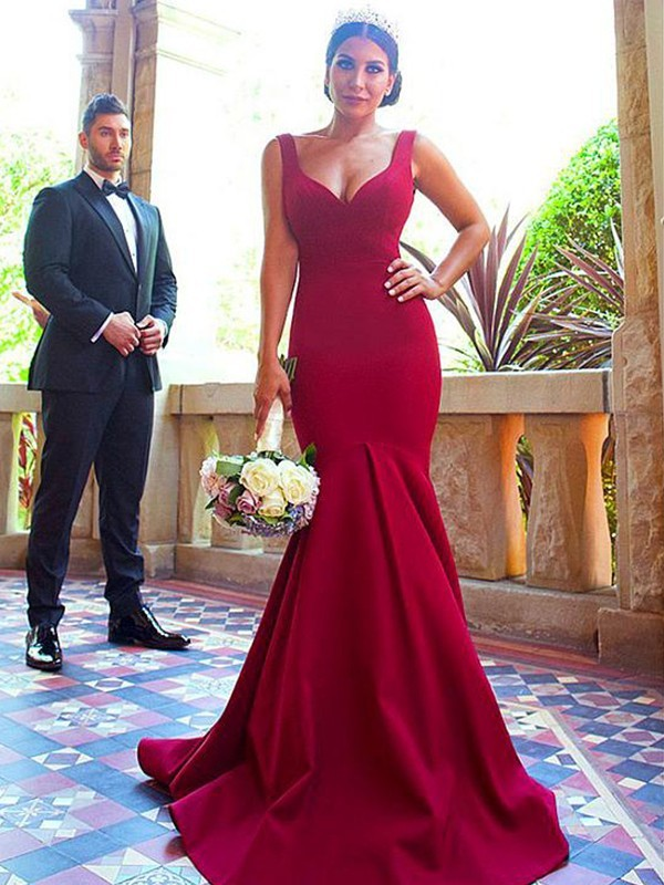 Trumpet/Mermaid V-neck Elastic Woven Satin Sleeveless Sweep/Brush Train Bridesmaid Dresses