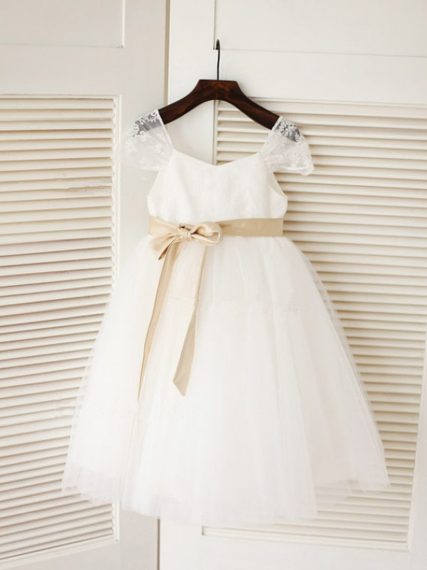 Ball Gown Scoop Tulle Sleeveless Tea-Length Flower Girl Dresses