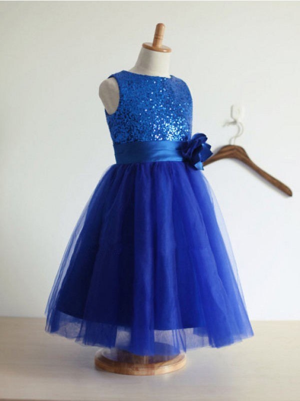 A-Line/Princess Jewel Tulle Sleeveless Tea-Length Flower Girl Dresses