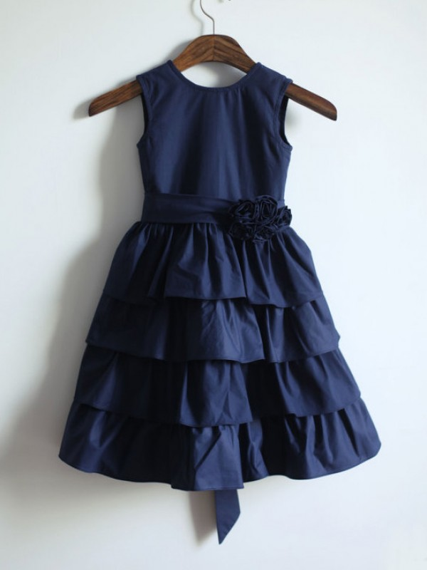 A-Line/Princess Jewel Taffeta Sleeveless Tea-Length Flower Girl Dresses
